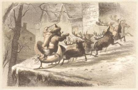 Santas_Sleigh_Lands_on_a_Roof_Public_Domain-450x293